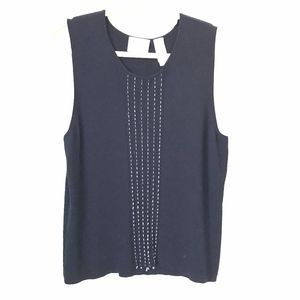 LIZ CLAIBORNE* Navy Stitched Detailed Knit Tank XL